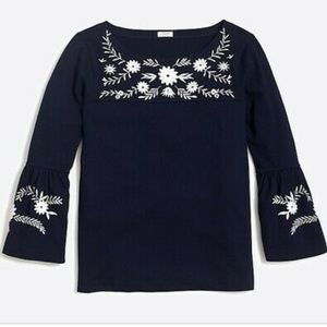 J crew factory embroidered bell sleeve T-shirt